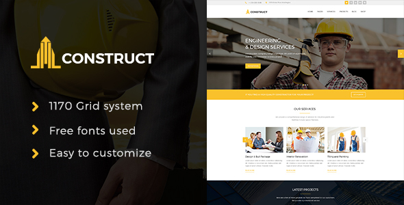 Construction - Construction Company PSD Template - Business Corporate