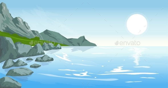 Seascape with Peaks - Landscapes Nature
