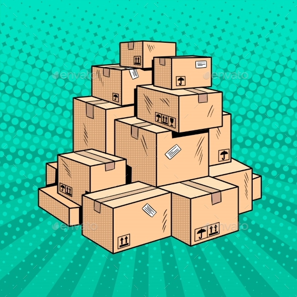 Boxes with Goods Pop Art Vector Illustration - Objects Vectors