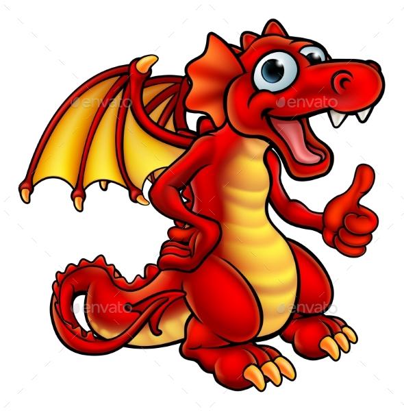 GraphicRiver Cartoon Red Dragon 20405492