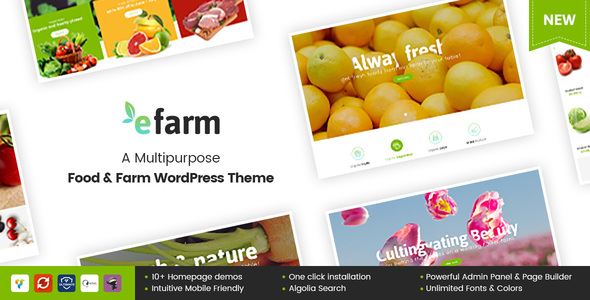 eFarm - A Multipurpose Food  Farm WordPress Theme - eCommerce WordPress