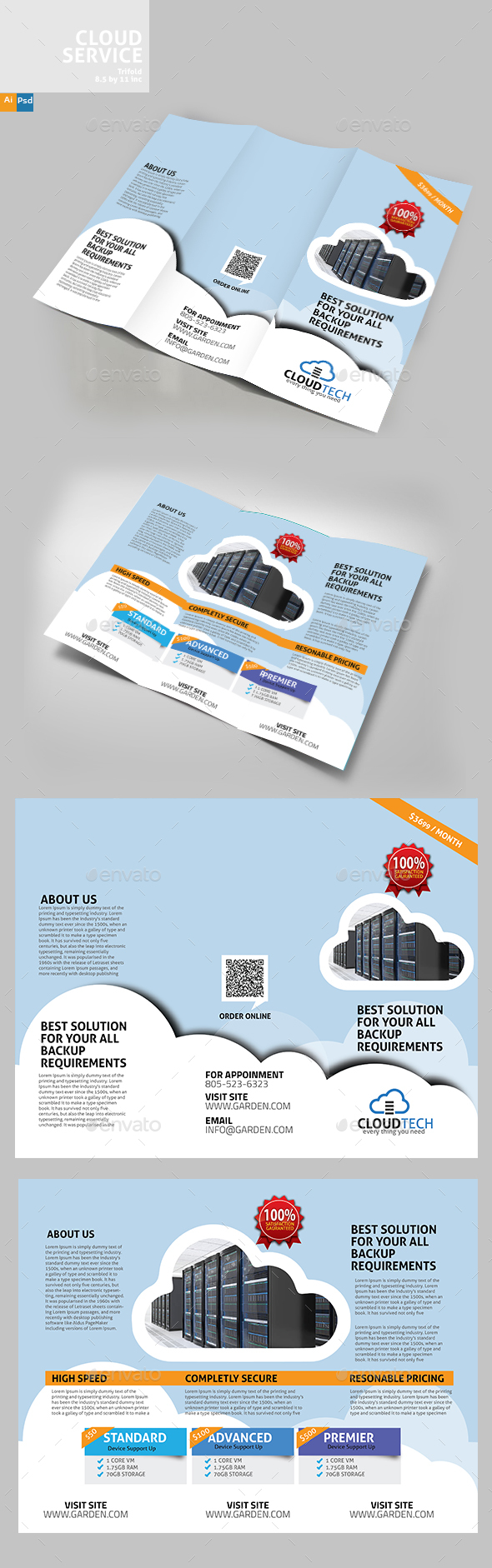 Cloud Services TriFold Design - Brochures Print Templates