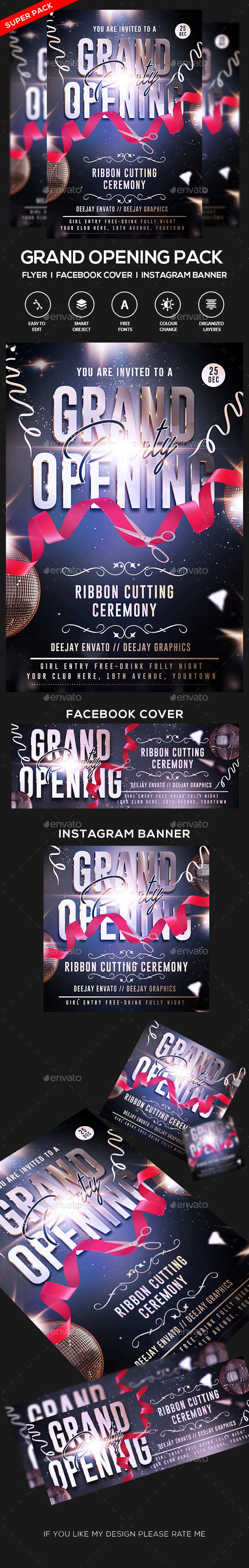 Grand Opening Pack Flyer with Facebook cover and Instagram Banner - Clubs & Parties Events