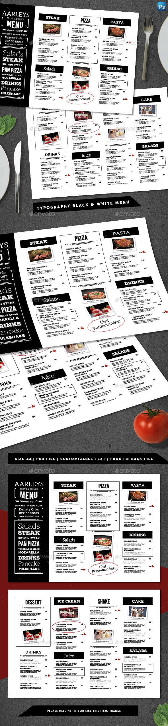 Typography Black & White Menu - Food Menus Print Templates