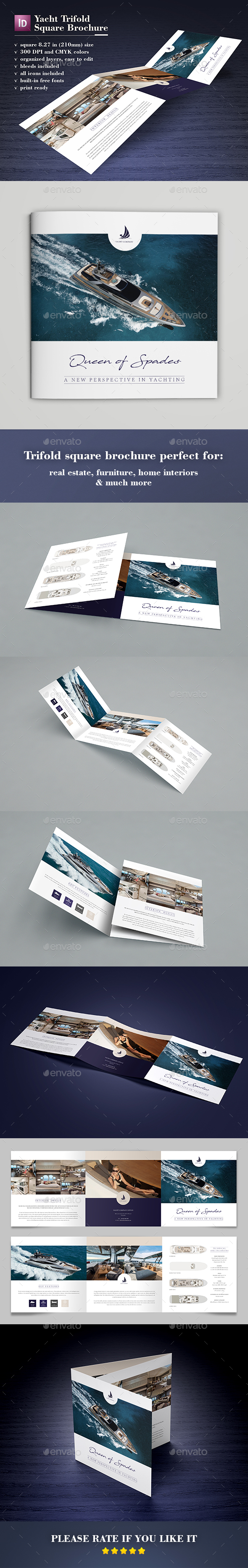 Yacht Trifold Square Brochure - Catalogs Brochures