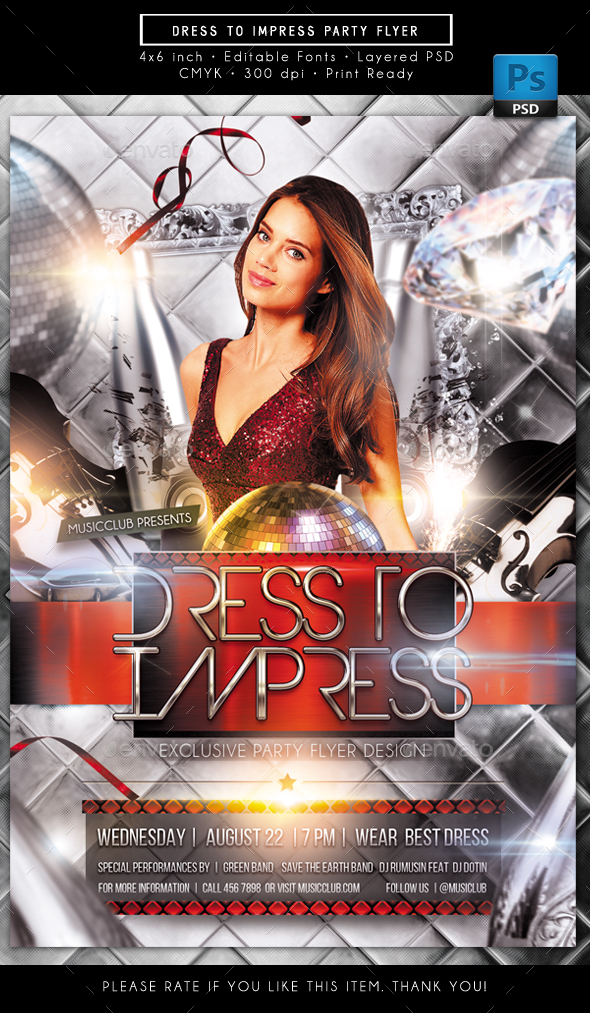 Dress to Impress Party Flyer - Clubs & Parties Events