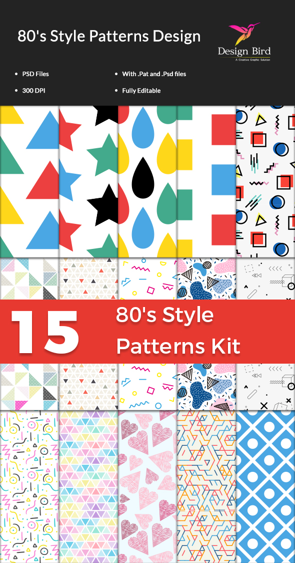 15  80's Style Patterns Kit for Photoshop - Textures / Fills / Patterns Photoshop