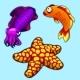 Squid, Starfish and Orange Fish on Blue Background
