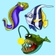 Set of Anglerfish, Eel, Striped Tropical Fish
