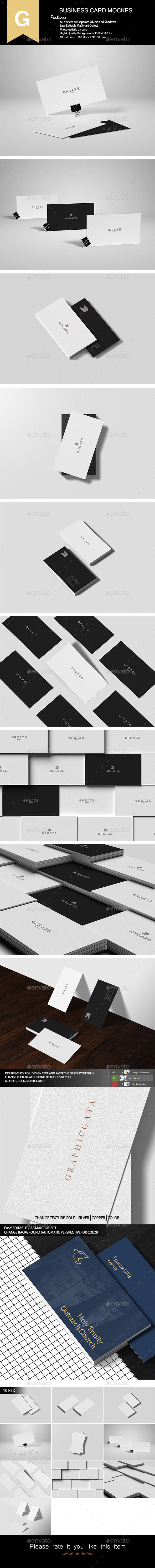 Realistic Business Card Mock-Up - Product Mock-Ups Graphics