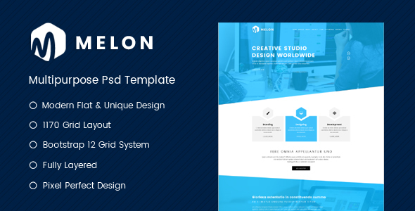 Download Free Melon – One Page Business & Corporate Website PSD Template