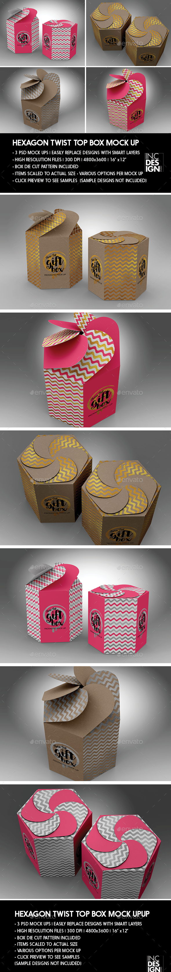 Hexagon Twist Top Candy Gift Box Packaging Mock Ups