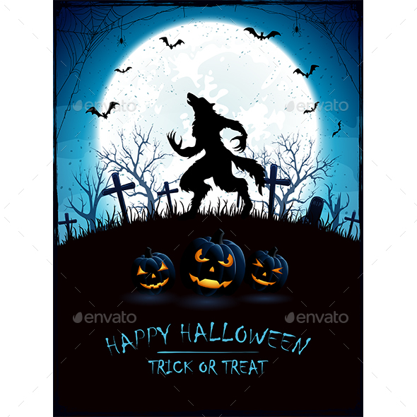 Blue Halloween Background with Moon and Werewolf - Halloween Seasons/Holidays