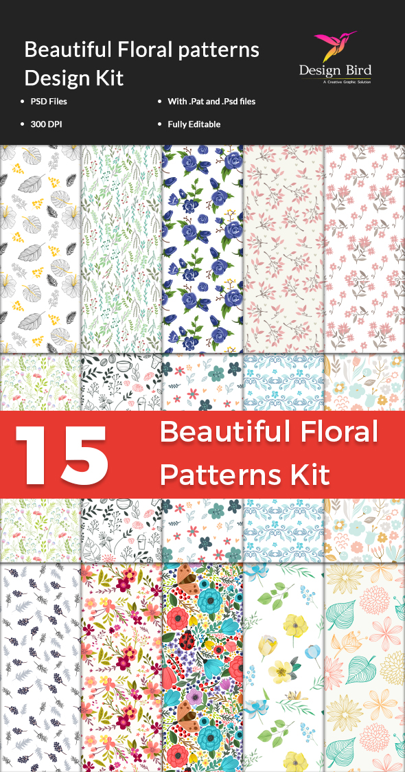 15 Beautiful Floral Patterns Kit - Textures / Fills / Patterns Photoshop