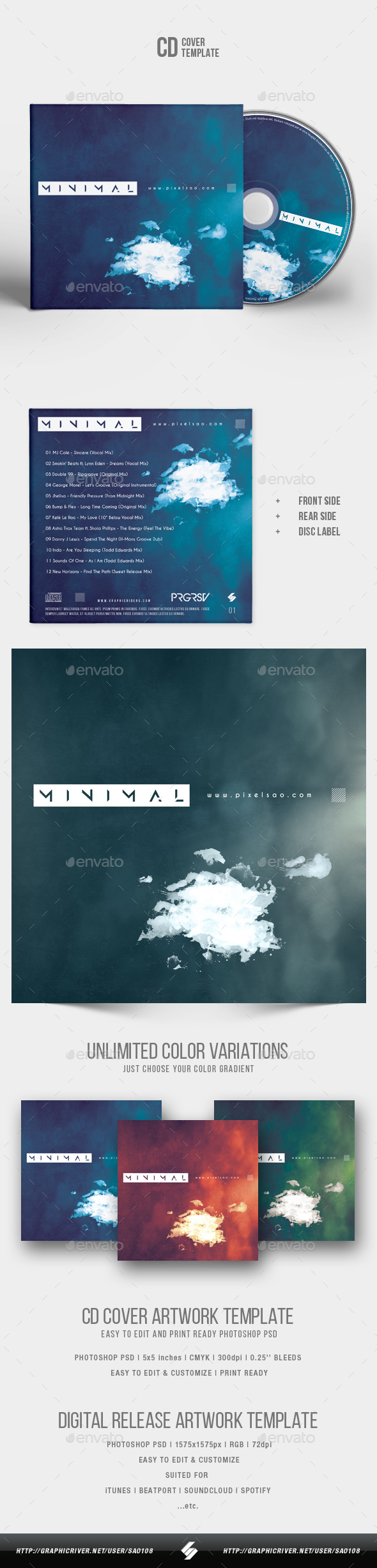 Minimal - CD Cover Artwork Template - CD & DVD Artwork Print Templates