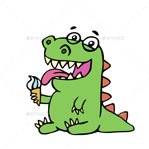 GraphicRiver Cartoon Dinosaur Eating Ice Cream 20406309