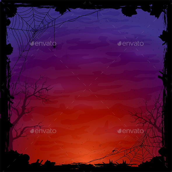 GraphicRiver Halloween Background with Spiders 20406332
