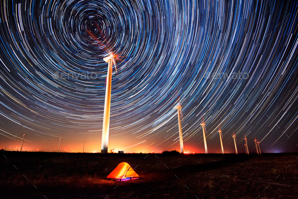 Circles in the night sky - Stock Photo - Images