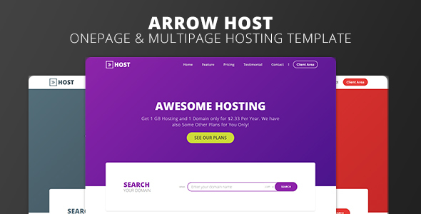 Arrow Host - One Page and Multi Page Web Hosting Template