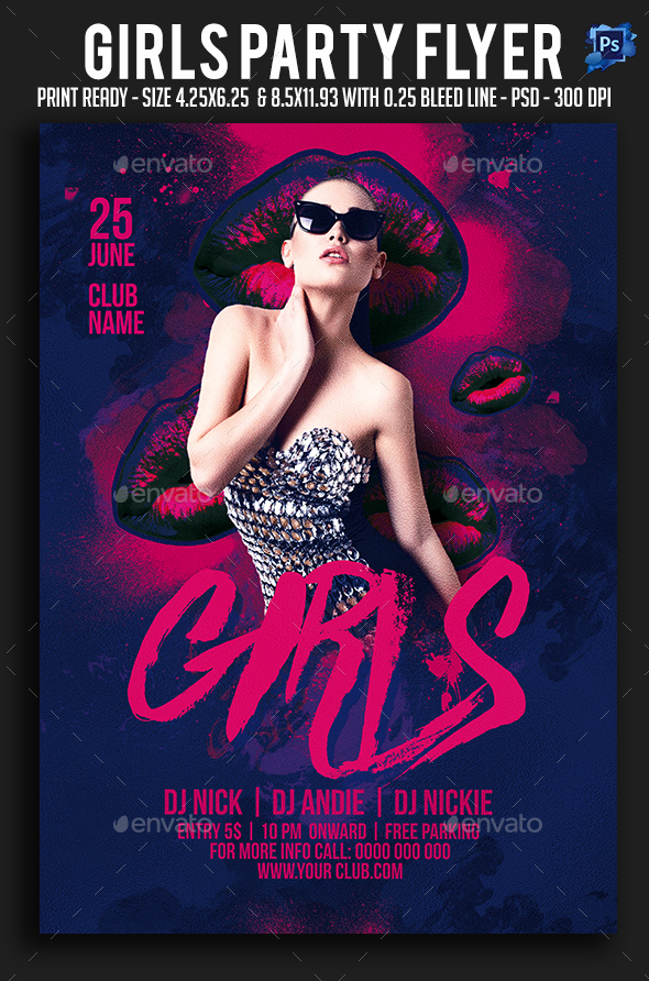 Girls Party Flyer - Clubs & Parties Events