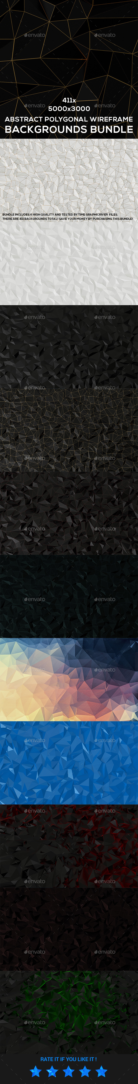 Abstract Polygonal Wireframe Backgrounds Bundle - Abstract Backgrounds