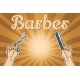 Barber Shop Background with Hands with Scissors