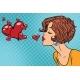 Woman Making a Kiss Heart