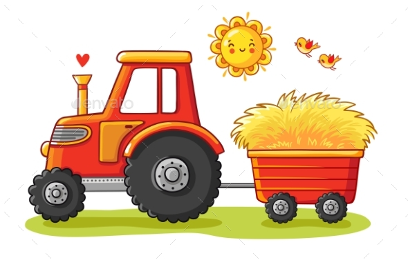 Tractor with a Cart - Man-made Objects Objects