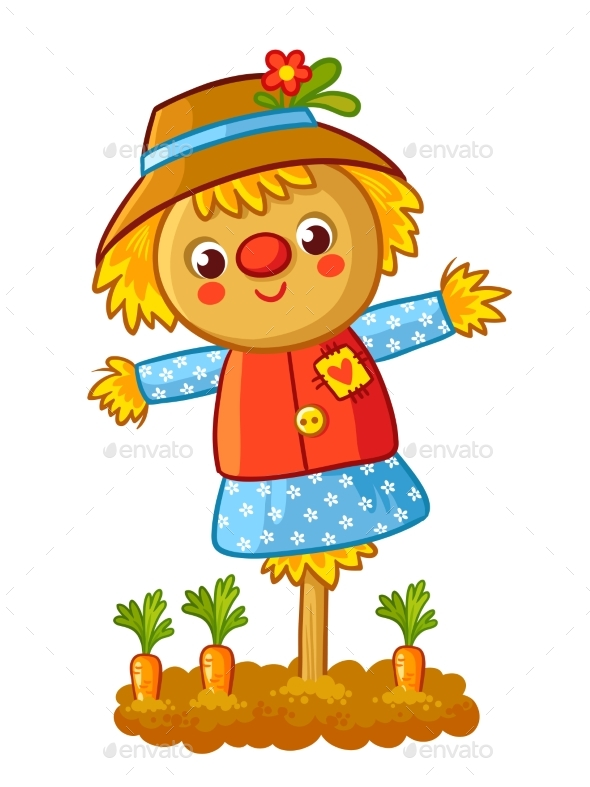 The Scarecrow is Standing in a Garden - Animals Characters