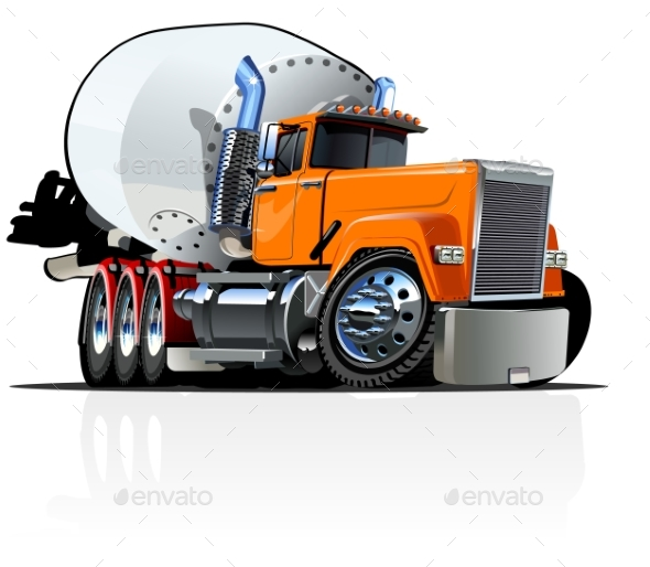 Cartoon Mixer Truck - Man-made Objects Objects