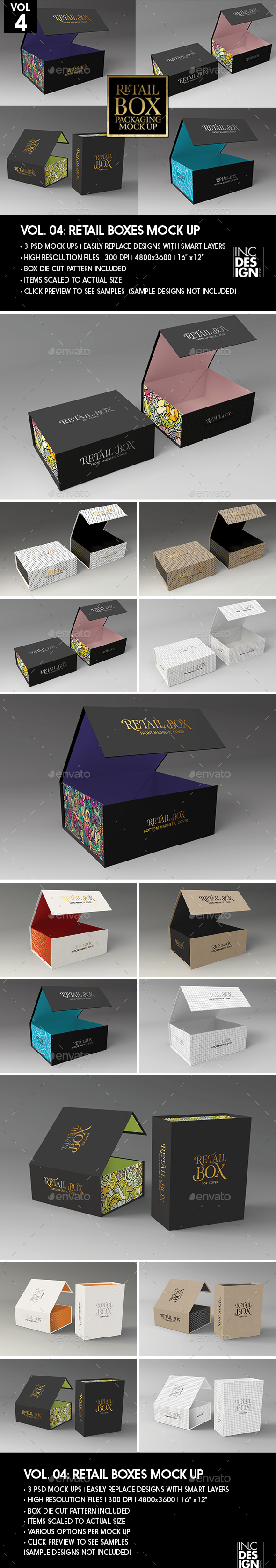 Retail Boxes Vol.4: Magnetic Box Packaging Mock Ups