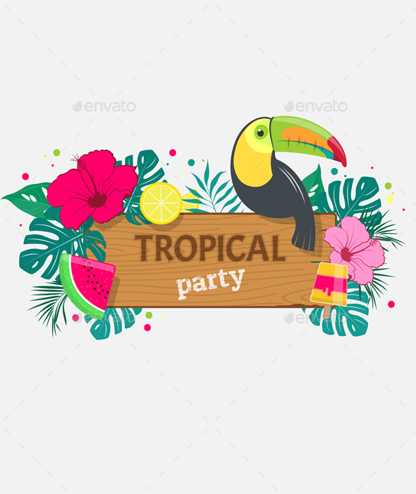 Wooden Board with an Inscription Tropical Party - Travel Conceptual