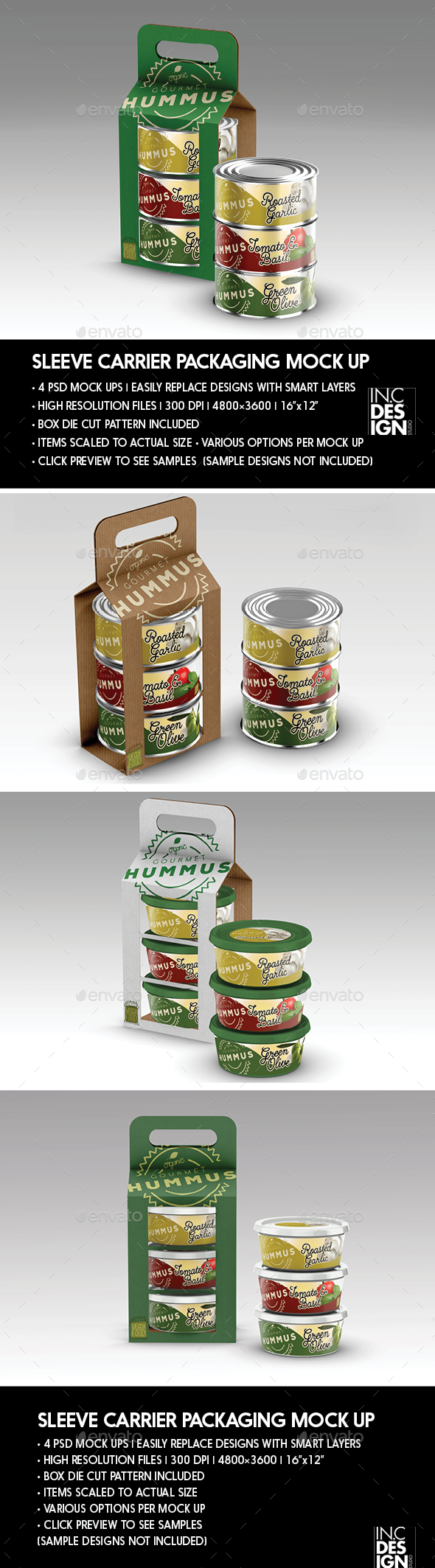 Packaging Mock Up Sleeve Carrier for Cans or Tubs