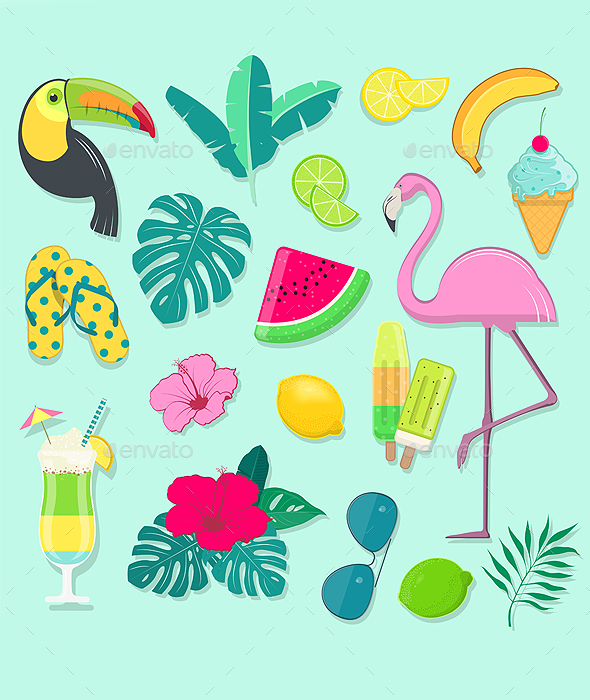 Vector Collection of Summer Party Icons - Decorative Symbols Decorative