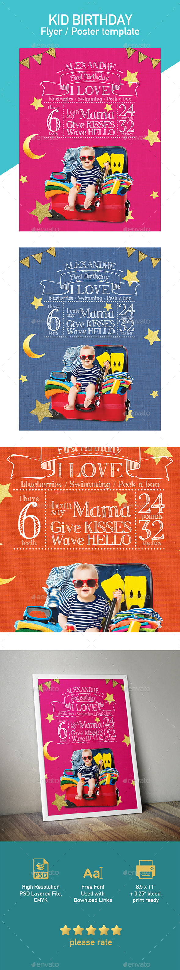 First Birthday Template for Flyer or Poster - Flyers Print Templates