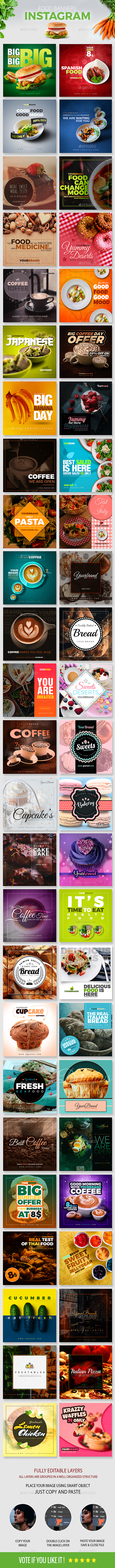 50 Food Instagram Banners - Social Media Web Elements