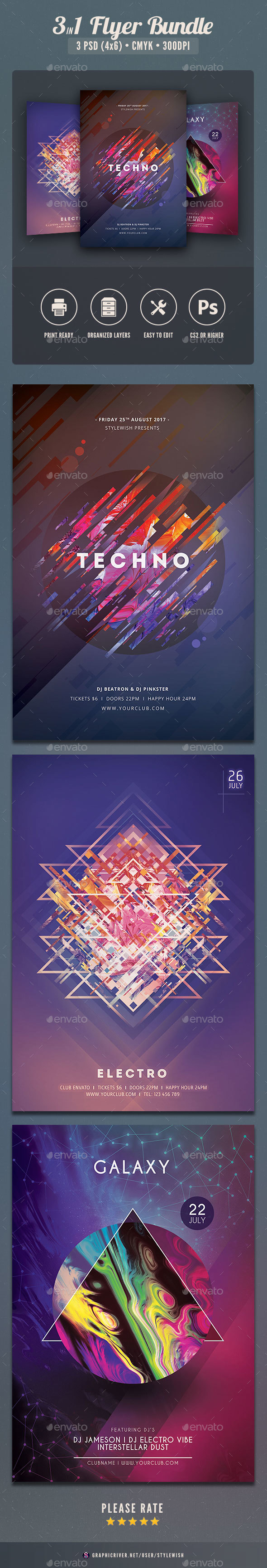 Abstract Flyer Bundle Vol.03 - Clubs & Parties Events