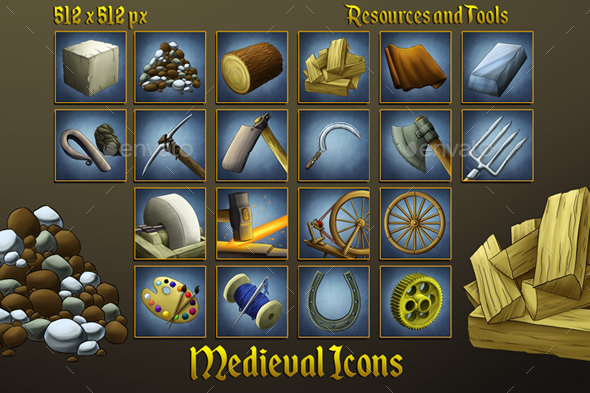 Middle Ages Icons: Resources and Tools - Miscellaneous Game Assets
