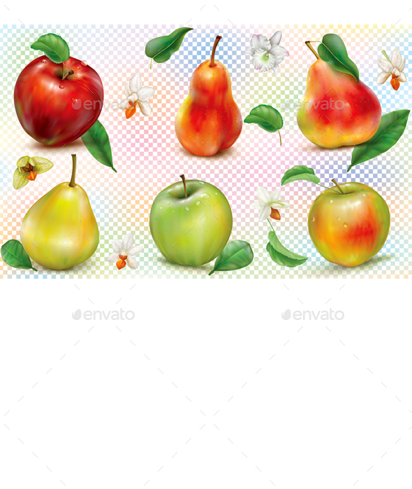 Apples and Pears on Transparent  Background - Food Objects