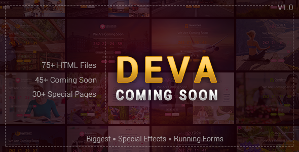 DEVA - Coming Soon Html Responsive Template - Specialty Pages Site Templates
