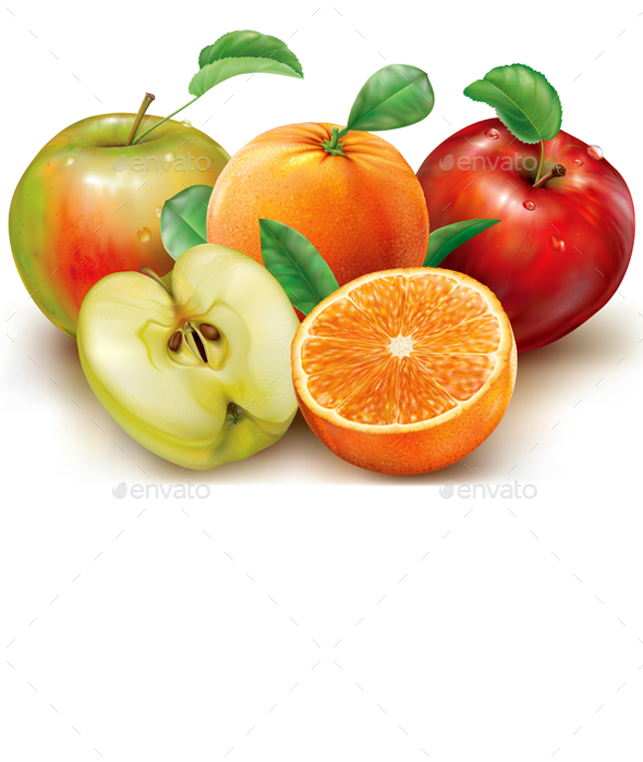 Apples and Orange Fruits on a White - Food Objects
