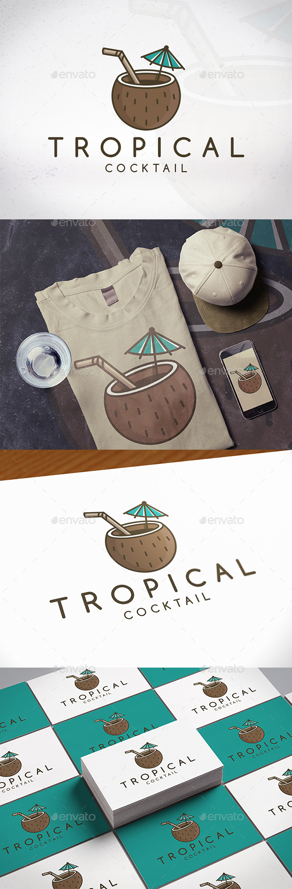 Tropical Cocktail Logo Template - Food Logo Templates