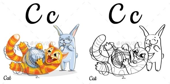 Alphabet Letter C Coloring Page Cat - Miscellaneous Vectors