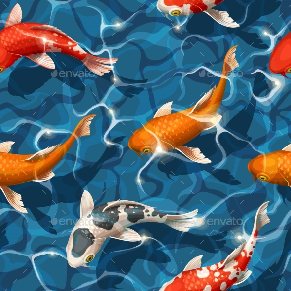 Seamless Koi Carps - Backgrounds Decorative