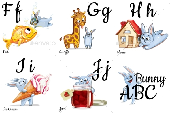 Vector Alphabet Letters For Kids With Pictures By Say
