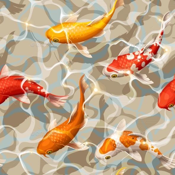 Seamless Koi Carps - Backgrounds Decorative