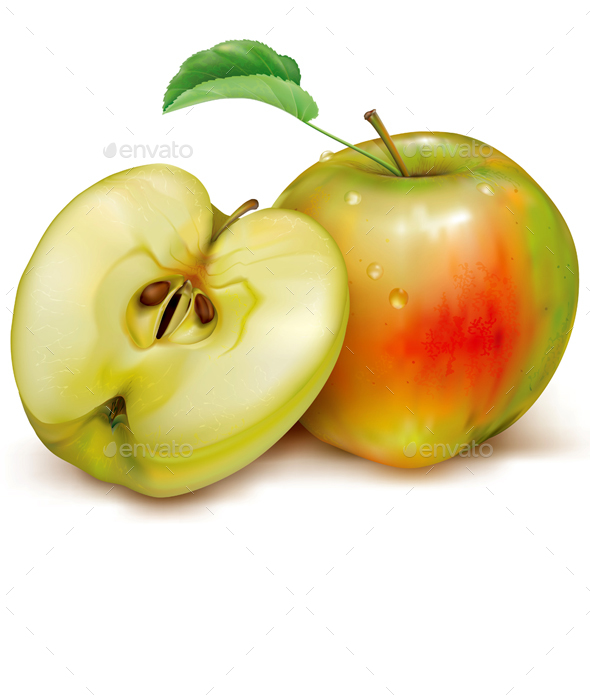 Whole and Half of Apples on White Background - Food Objects