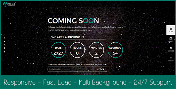 Asonno Coming Soon HTML5 Responsive Template