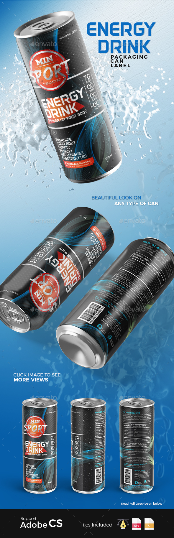 Energy Drink Packaging Can Label - Packaging Print Templates