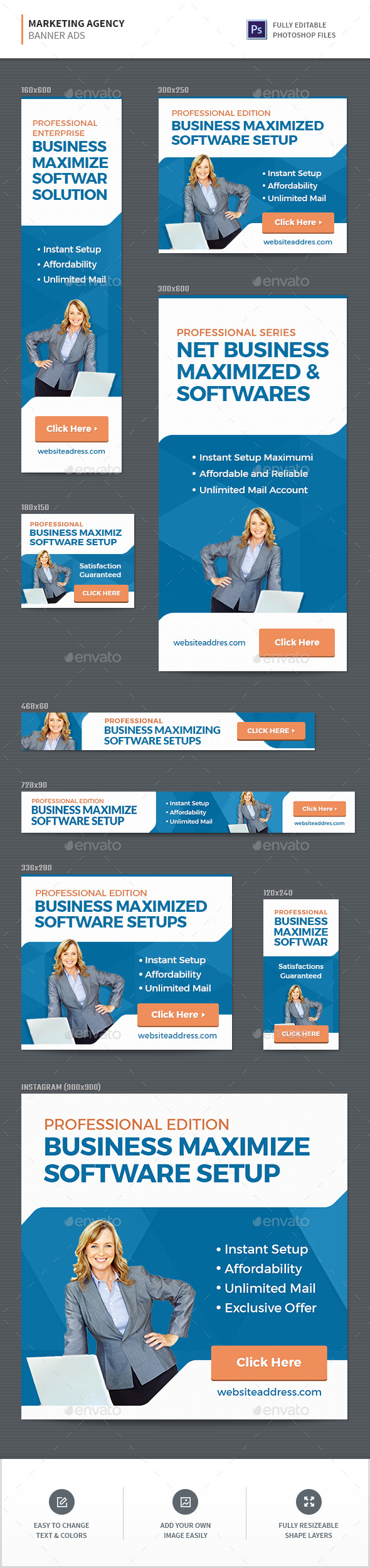 Marketing Agency Banners - Banners & Ads Web Elements